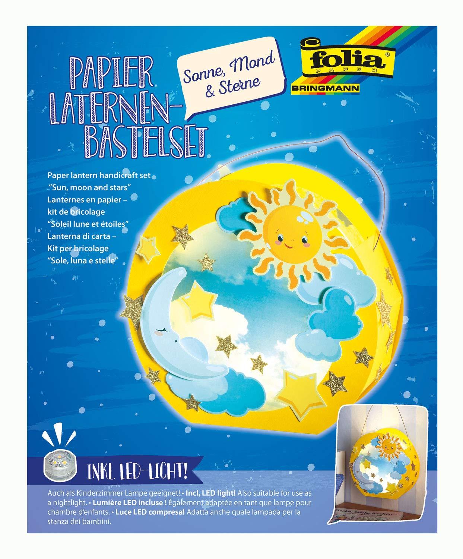 Folia 68101 Laternen-Bastelset, Sonne, Mond & Sterne, inklusive Laternenstab und LED Licht, bunt