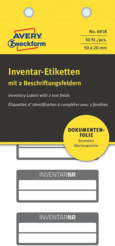 AVERY Zweckform 6918 fälschungssichere Inventaretiketten (extrem stark selbstklebend, Kleinformat, 5