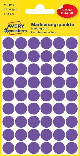 AVERY Zweckform 3115 Selbstklebende Markierungspunkte, Violett (Ø 12 mm; 270 Klebepunkte auf 5 Bogen
