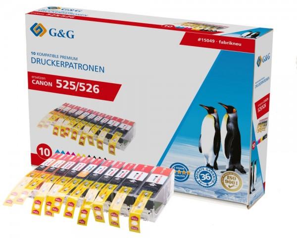 G&G Tinte ersetzt Canon PGI-525PGBK CLI-526BK CLI-526C CLI-526M CLI-526Y Kompatibel 10er-Pack 15049