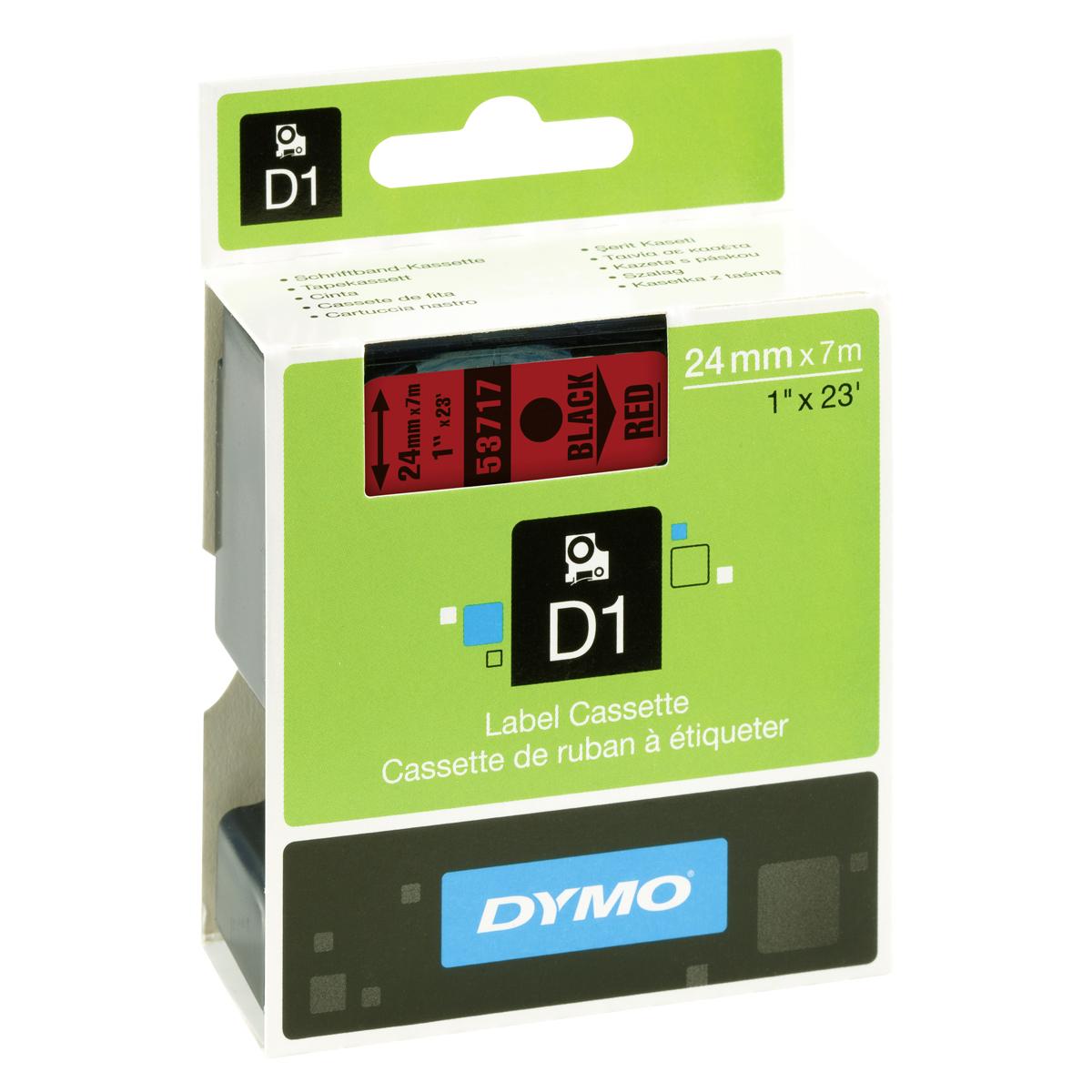 Dymo D1-Schriftband 24mm x 7m schwarz auf rot