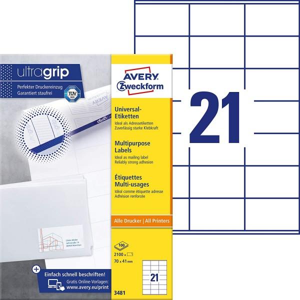 AVERY Zweckform 3481 Adressaufkleber (2.100 Klebeetiketten, 70x41mm auf A4, Papier matt, bedruckbare