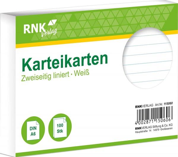 RNK 115060 - Karteikarte liniert 7 mm, DIN A6, weiß, 1 Packung à 100 Karten