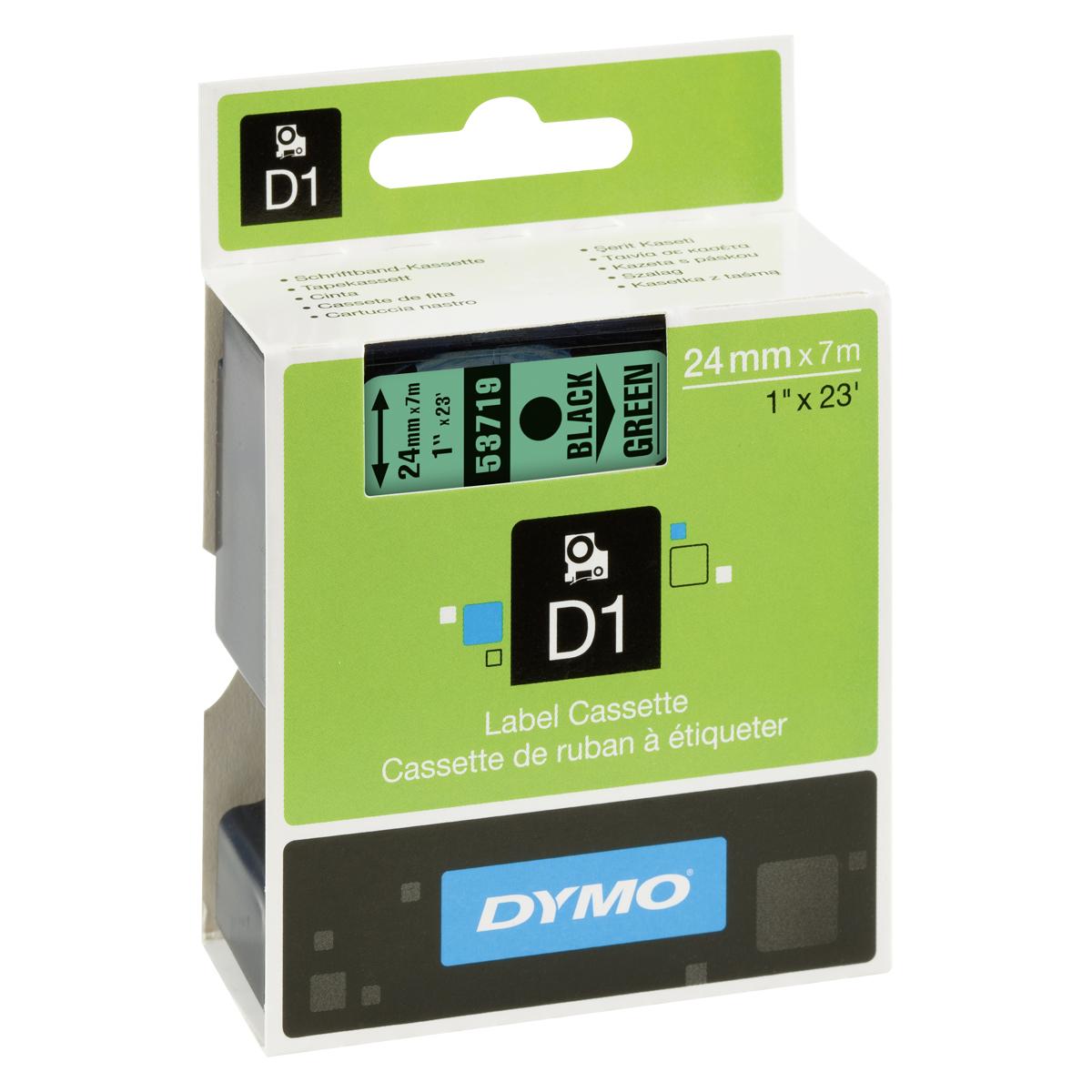 Dymo D1-Schriftband 24mm x 7m schwarz auf grün