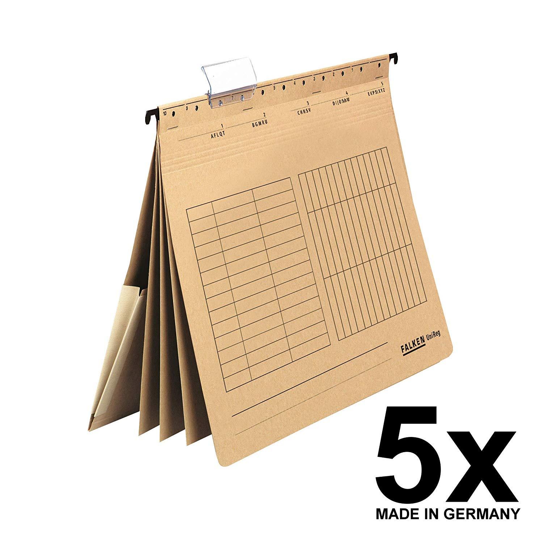5x Falken Personalhefter UniReg, 80002363, 230 g/qm Karton, DIN-A4, 4 Fächer, natronbraun