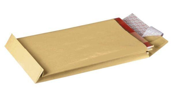 Elepa - rössler kuvert Faltentaschen B4, ohne Fenster, mit 20 mm-Falte und Stehboden, 130 g/qm, brau