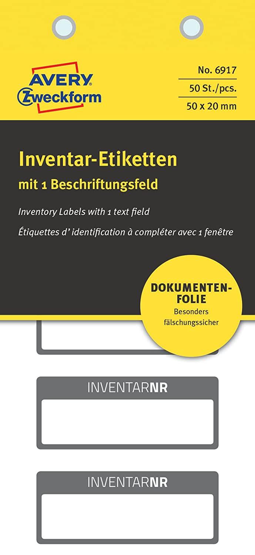 AVERY Zweckform 6917 fälschungssichere Inventaretiketten (extrem stark selbstklebend, Kleinformat, 5
