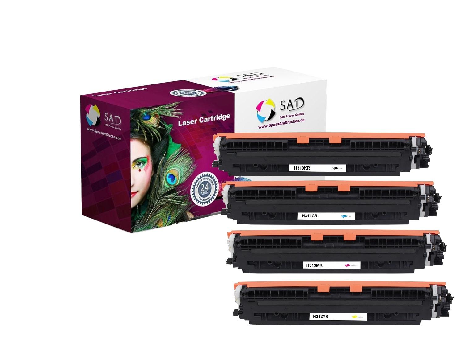SAD MultiPack Premium Toner kompatibel mit HP CE310A / CE311A / CE312A / CE313A / 126A schwarz cyan