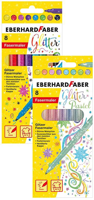 Eberhard Faber 551008+551009 - Glitzer Fasermaler im Kartonetui, 8er (mehrfarbig, Pastell-Farben)
