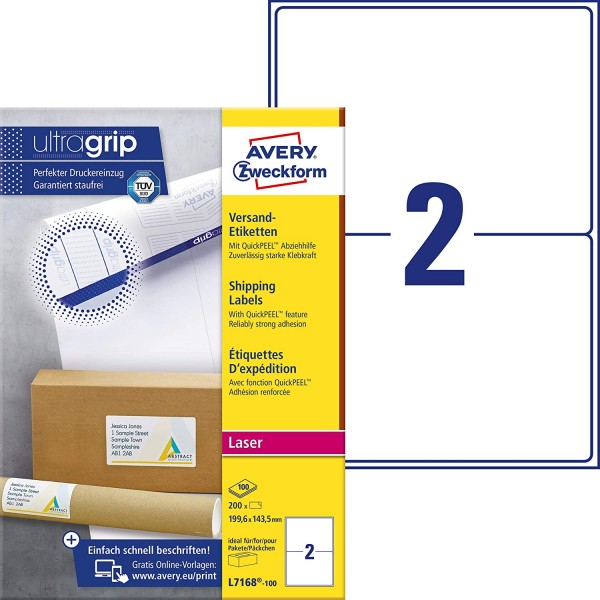 AVERY Zweckform L7168-100 Versandetiketten/Versandaufkleber (200 Etiketten mit ultragrip, 199,6x143,