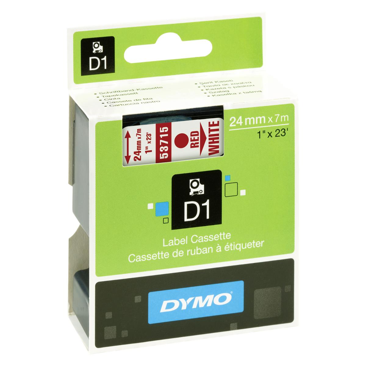 Dymo D1-Schriftband 24mm x 7m rot auf weiß