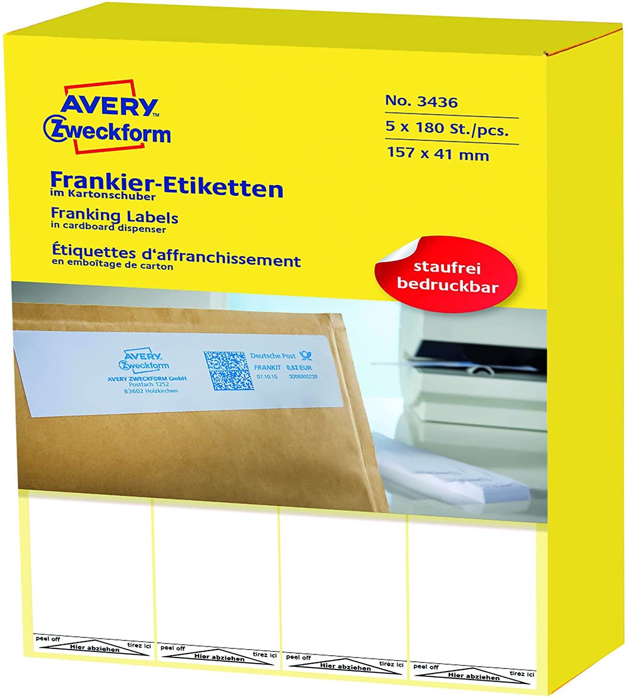 AVERY Zweckform 3436 Frankier-Etiketten (Papier matt, 900 Etiketten, 157 x 41 mm) 1 Pack weiß