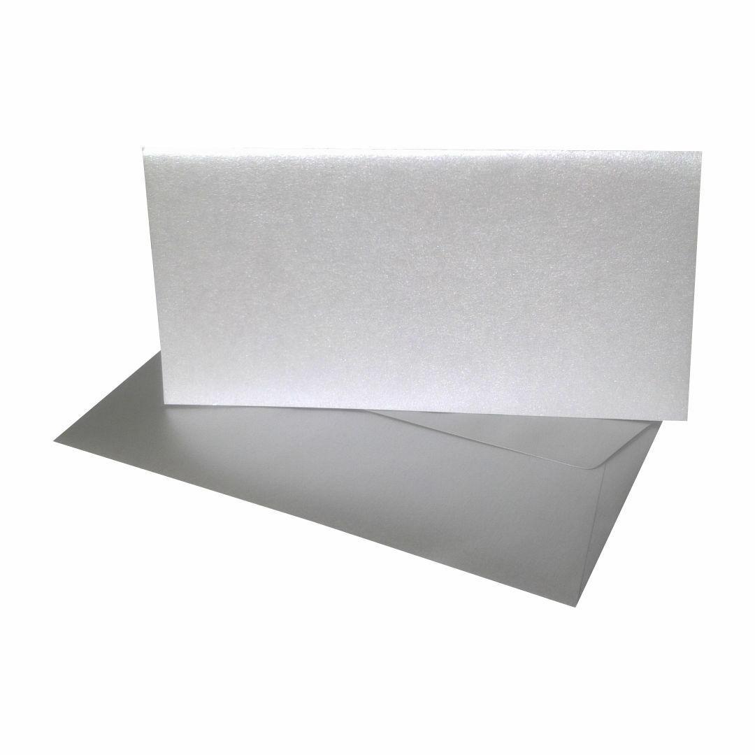 Clairefontaine 22589C Packung mit 25 Doppelkarten, gefaltet 210g, in Format DL, 106 x 213mm, silber