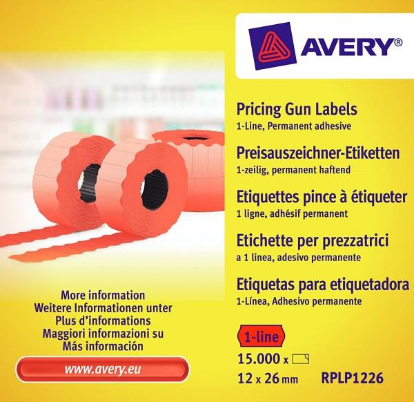 AVERY Zweckform RPLP1226 Preisauszeichner-Etiketten (15.000 Stück, 1-zeilig, 12 x 26 mm) 10 Rollen r