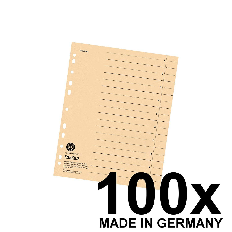 100x Falken Trennblätter 80001688 DIN-A4, 24x30cm, 230g/m² Karton, chamois
