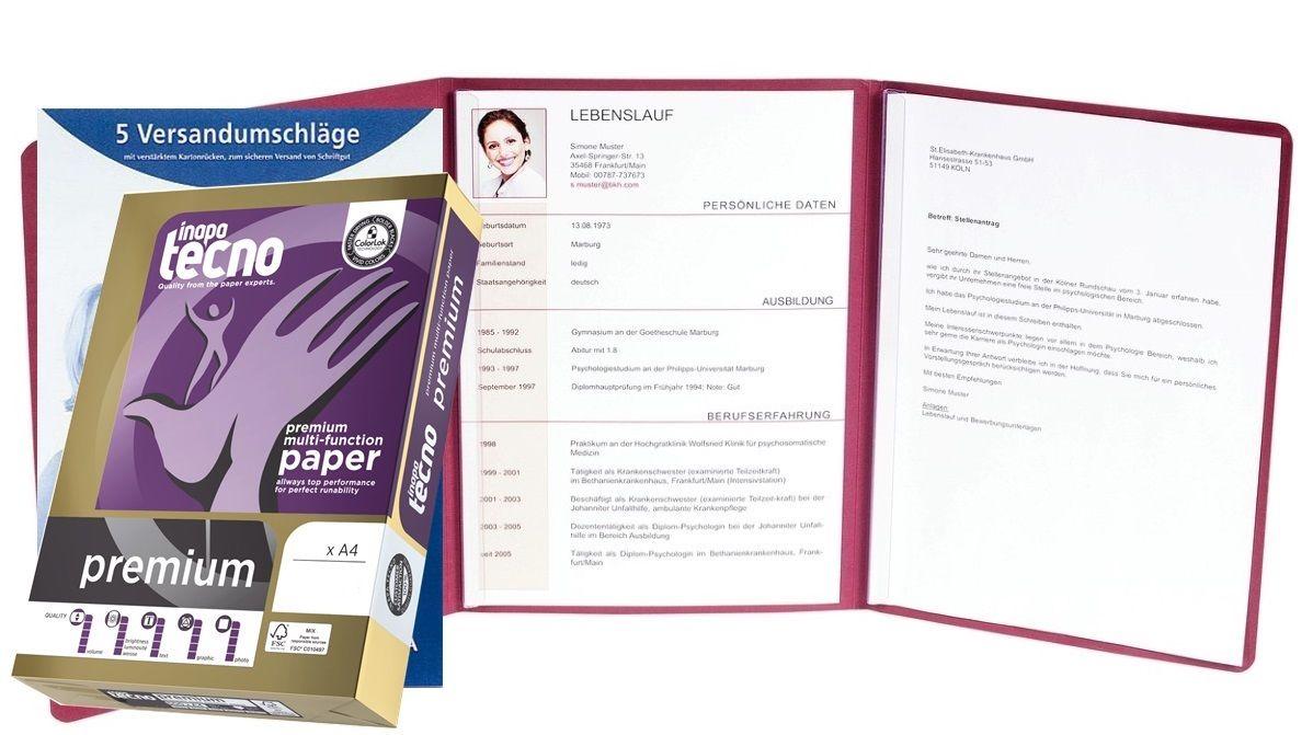 5 x Bewerbungsmappe Bordeaux + B4 Versandumschläge + 250 Blatt Papier