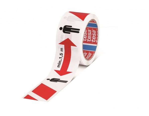 GP 0,11€/m tesa Abstandstape / Abstandsband - 1,5m ABSTAND HALTEN selbstklebend 50m : 50mm - 58263-0