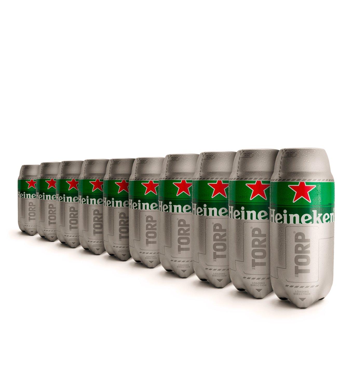 (3,50 €/L) Heineken TORP 10 x 2L Packung - Bierfass kompatibel mit der Bierzapfanlage THE SUB