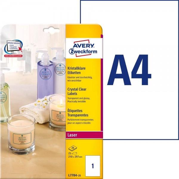 AVERY Zweckform L7781-25 transparente Etiketten (1000 Klebeetiketten, 45,7x25,4mm auf A4, Aufkleber