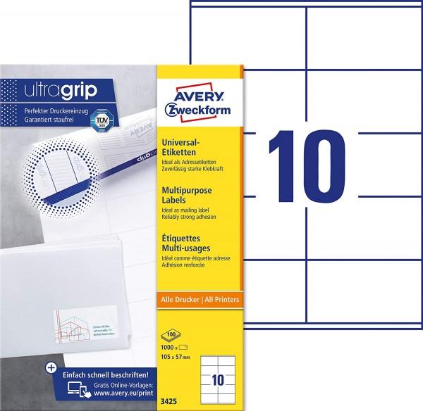AVERY Zweckform 3425 Adressaufkleber (1.000 Klebeetiketten, 105x57mm auf A4, Papier matt, individuel