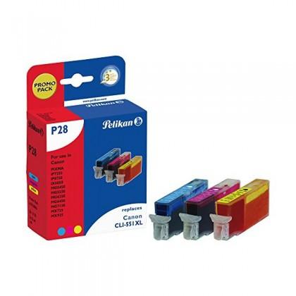 Pelikan PromoPack P28 komp. zu CLI-551CMY XL Canon Pixma iP7250 etc.