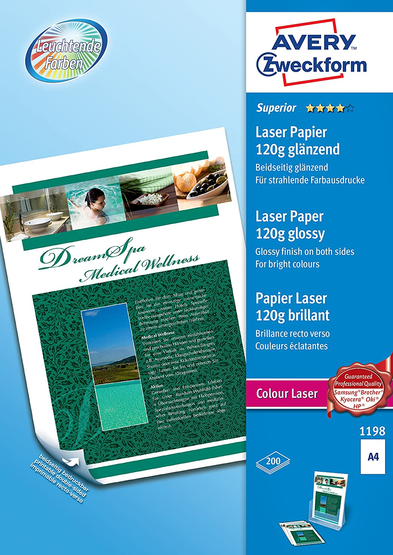 AVERY Zweckform 1198 Superior Colour Laser Papier (A4, beidseitig beschichtet, glänzend, 120 g/m², 2