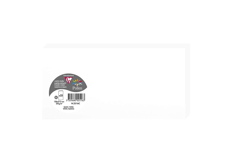 Clairefontaine 2516C Packung mit 25 Doppelkarten, gefaltet, 210g, in Format DL, 106 x 213mm, weiss