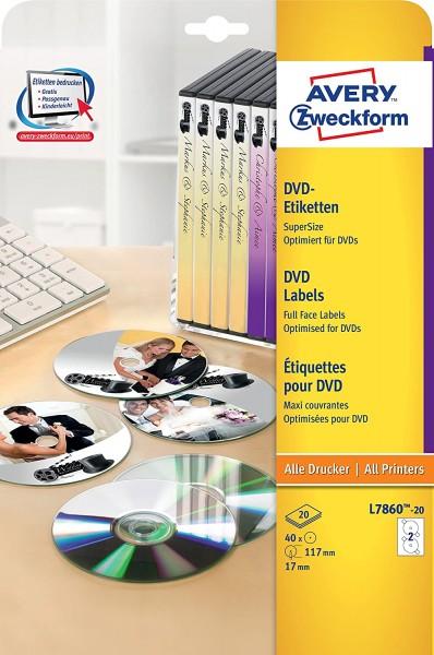 AVERY Zweckform L7860-20 DVD-Etiketten (A4, 40 Stück, Ø 117 mm, 20 Blatt) weiß