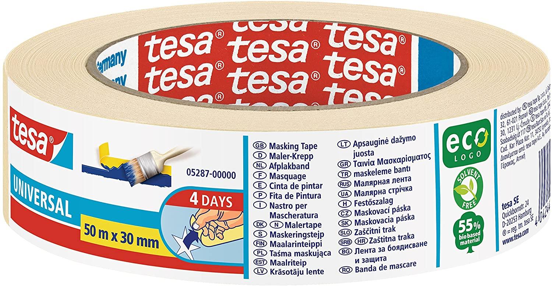 tesa Malerband UNIVERSAL - Vielseitiges Klebeband für Malerarbeiten ohne Lösungsmittel - Bis zu 4 Ta