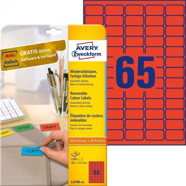 AVERY Zweckform L4790-20 Rote Etiketten (1.300 Aufkleber, 38,1x21,2 mm auf A4, wieder rückstandsfrei