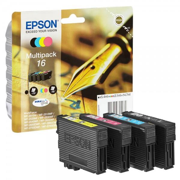 EPSON Multipack 16, C13T16264012, original, (schwarz/farbig) 4 Stück Tintenpatronen