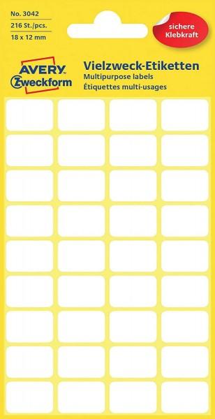 Avery Zweckform 3042 Haushaltsetiketten selbstklebend (18 x 12 mm, 216 Aufkleber auf 6 Bogen, Vielzw
