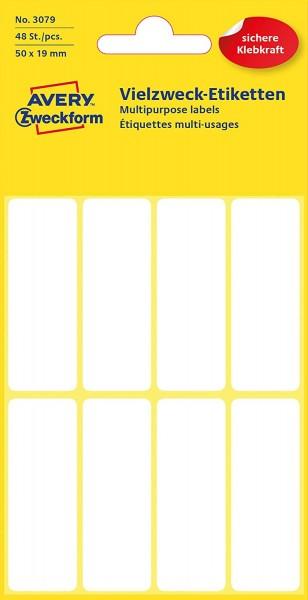 Avery Zweckform 3079 Haushaltsetiketten selbstklebend (50 x 19 mm, 48 Aufkleber auf 6 Bogen, Vielzwe
