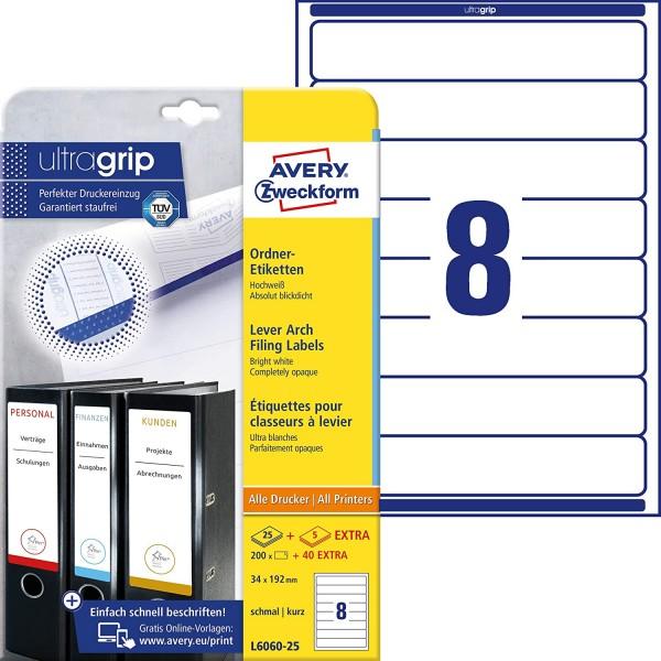 AVERY Zweckform L6060-25 Ordnerrücken Etiketten (mit ultragrip, 34 x 192 mm auf DIN A4, schmal/kurz,