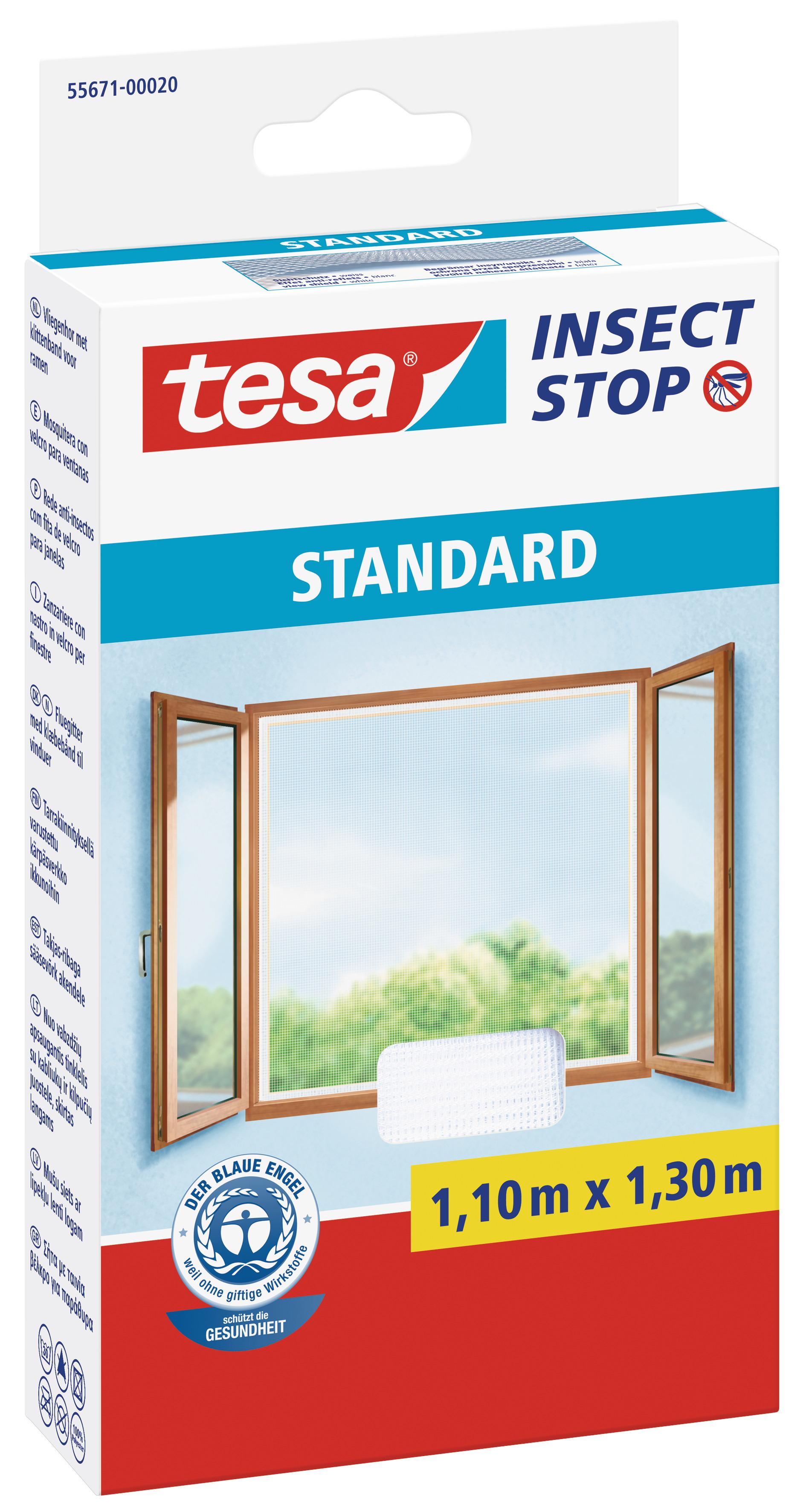 tesa Fliegengitter Standard Klettband für Fenster 1,1 m : 1,3 m, weiß