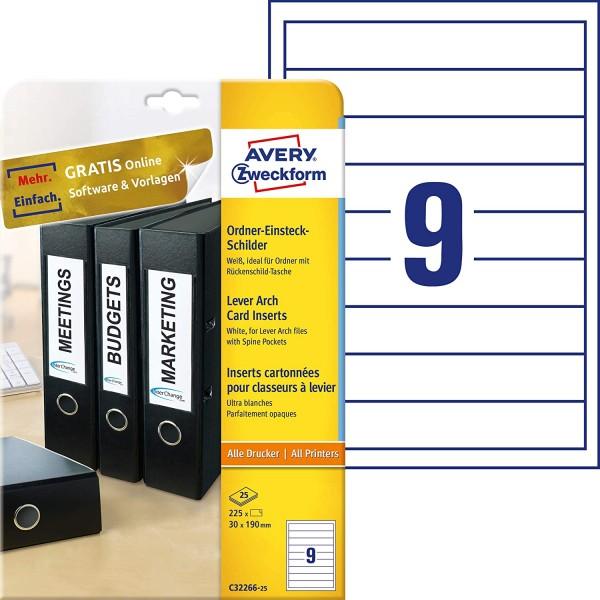 AVERY Zweckform C32266-25 Ordner-Einsteckschilder (30 x 190 mm auf DIN A4, für schmale/ kurze Ordner