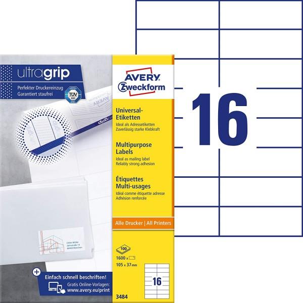 AVERY Zweckform 3484 Adressaufkleber (1.600 Klebeetiketten, 105x37mm auf A4, Papier matt, individuel