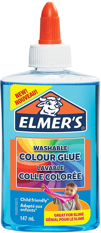 Elmer's transparenter, farbiger PVA-Kleber | blau | 147 ml | auswaschbar | ideal zur Herstellung von