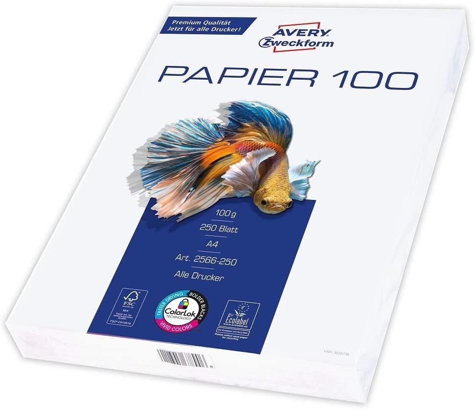 Avery Zweckform 2566 Drucker-/Kopierpapier (250 Blatt, 100 g/m², DIN A4 Papier, hochweiß, für alle D
