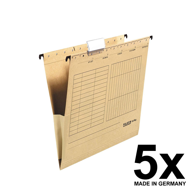 5x Falken Hängetasche 80004336 UniReg, braun 230g/m²-Kraftkarton, mit Leinenfröschen
