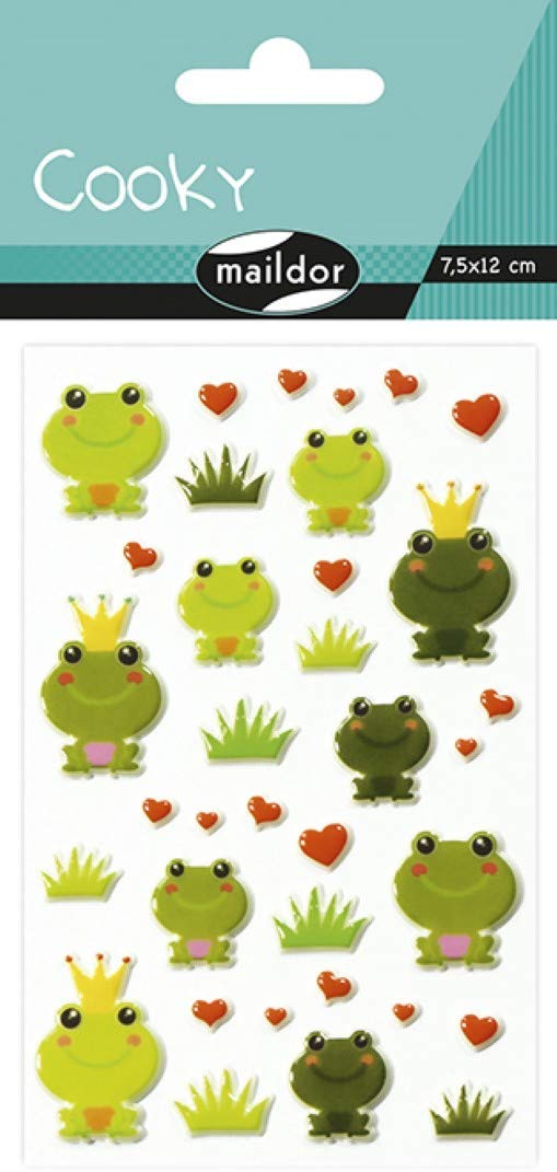 Maildor CY020O FROSCH Packung mit Stickers Cooky 3D (1 Bogen, 7,5 x 12 cm, ideal zum Dekorieren, Sam