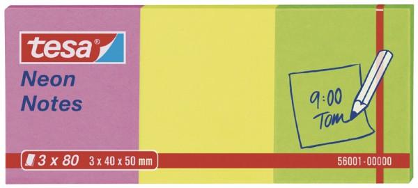 tesa Neon Notes, 3 x 80 Blatt, pink / gelb / grün 40mm x 50mm