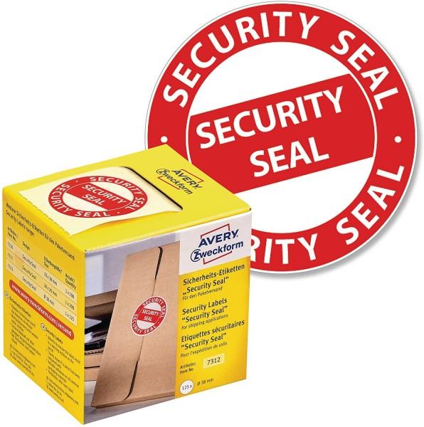 AVERY Zweckform Sicherheitssiegel VOID 7312 Security Seal (leuchtrot, Ø 38 mm, 125 Stück auf Rolle)