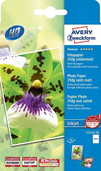 AVERY Zweckform C2552-50 Premium Inkjet Fotopapier (10x15, einseitig beschichtet, seidenmatt, 250 g/