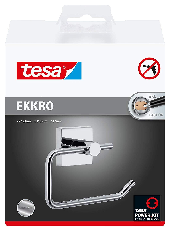 Tesa ekkro Toilettenpapierhalter (hochglanzverchromt, inkl. Klebelösung, hohe Haltekraft (bis 6kg),