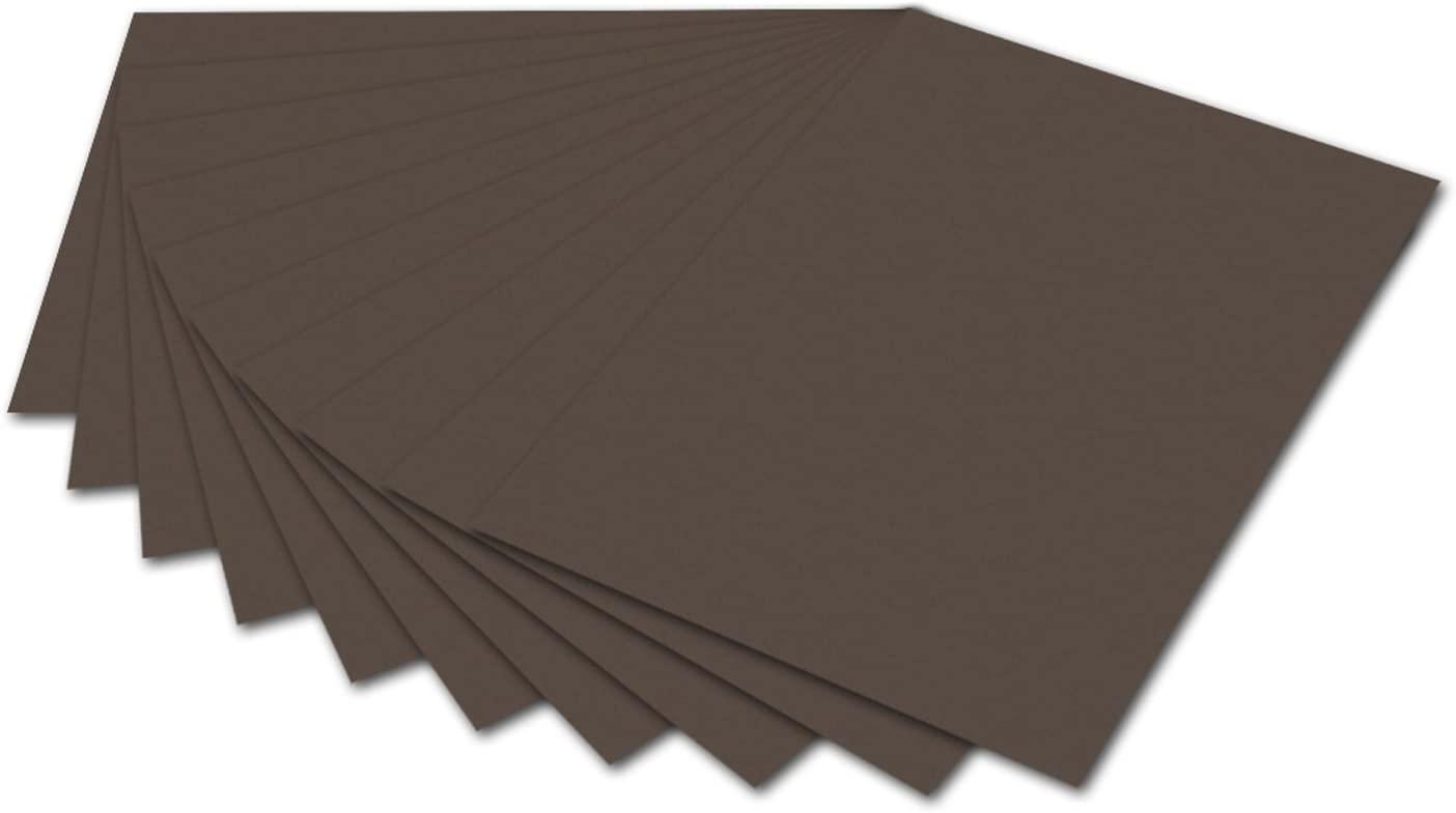 folia 6170 - Fotokarton Dunkelbraun, 50 x 70 cm, 300 g/qm, 10 Bogen - zum Basteln und kreativen Gest
