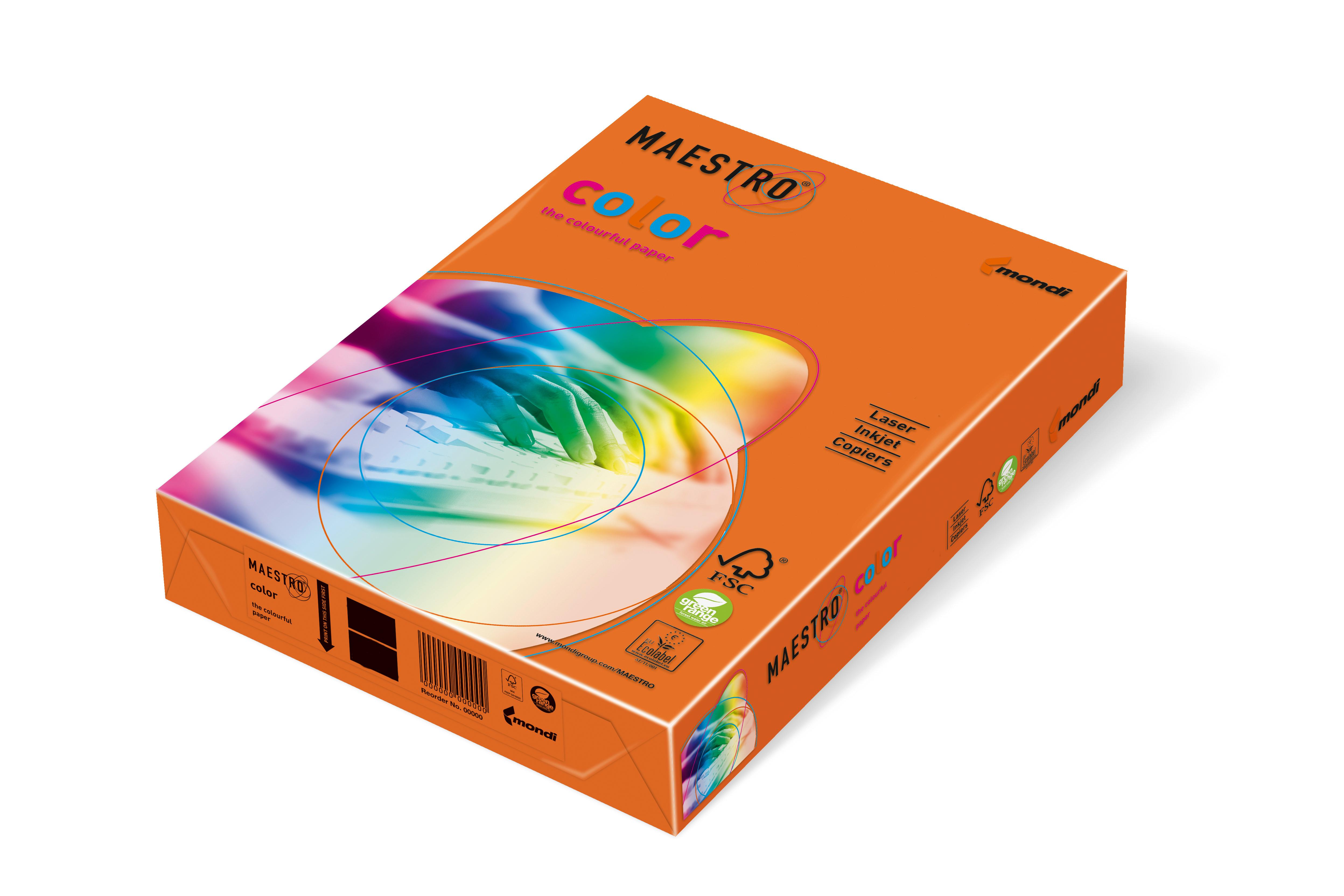 Vorschau: Mondi Maestro Color orange 120g/m² DIN-A4 - 250 Blatt OR43