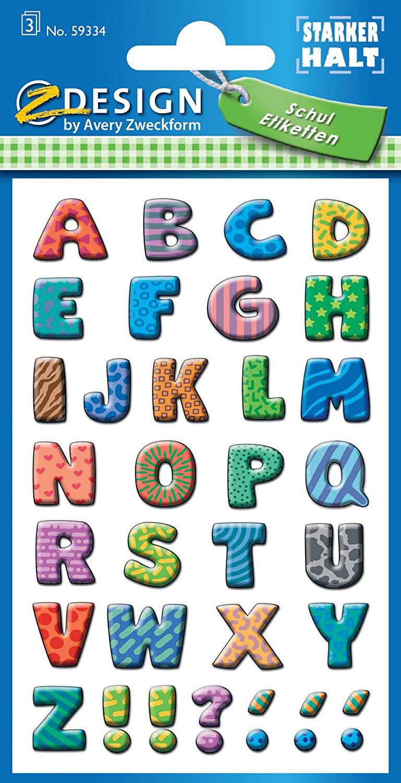 AVERY Zweckform 59334 Schuletiketten 102 Stück (Papier-Aufkleber für Mädchen und Jungen, blauer Rand