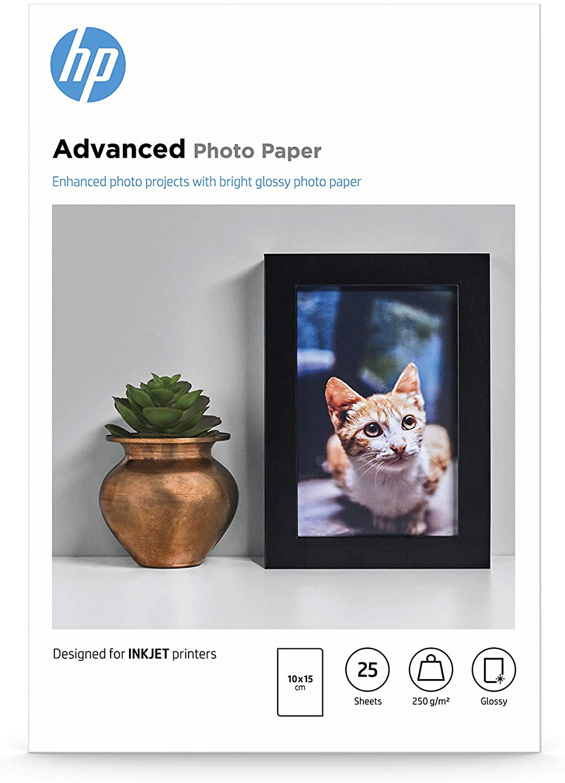 HP Q8691A Advanced Glossy Fotopapier 250g/m² 10x15cm 25 Blatt, Fotokarten, weiß