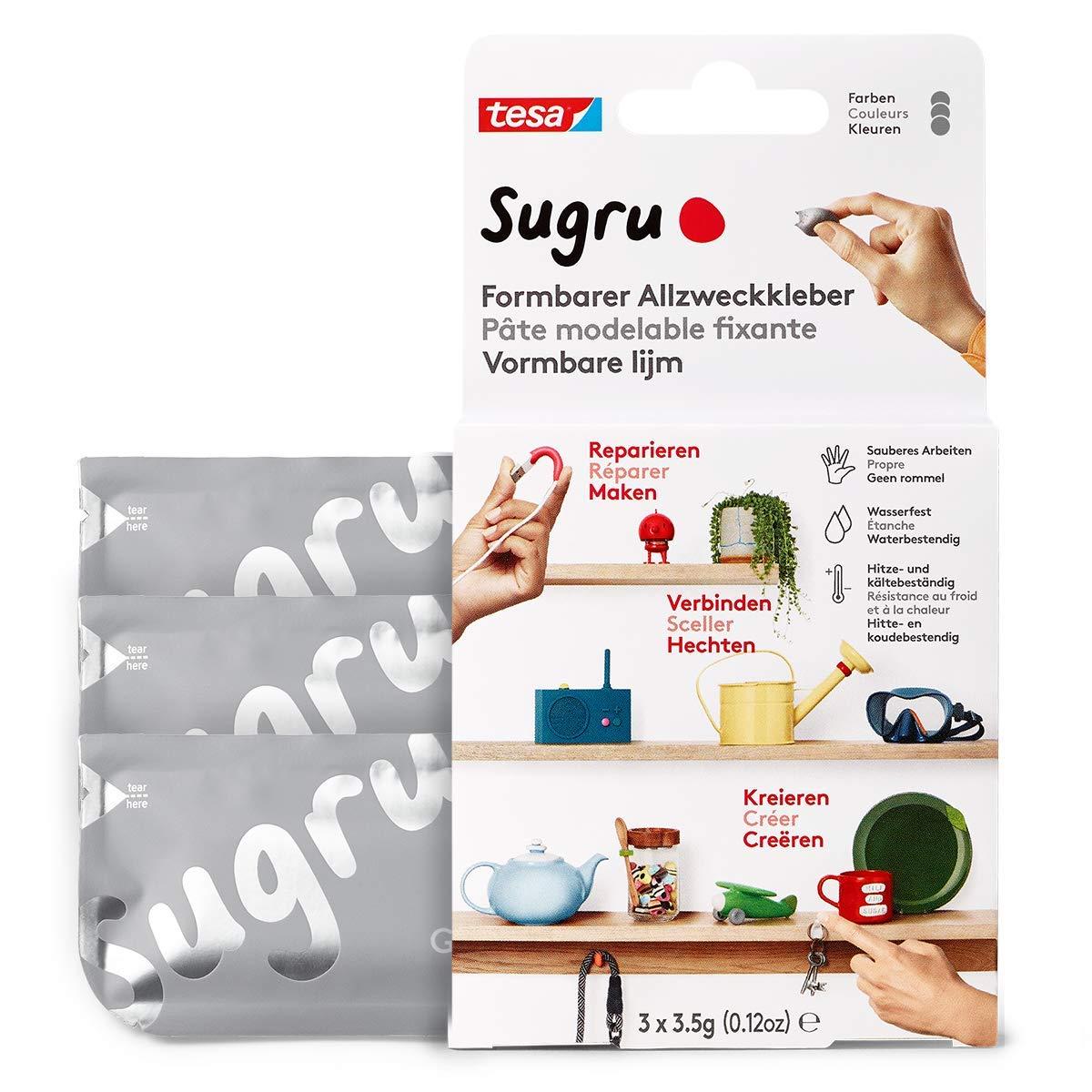Sugru by tesa® - Formbarer Allzweckkleber, starker Allzweck-Klebstoff, 3er-Pack (3 x 3,5 g) in Grau